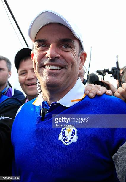 Europe team captain Paul McGinley celebrates on the 15th hole after Europe won the Ryder Cup with Jamie Donaldson defeating Keegan Bradley of the...