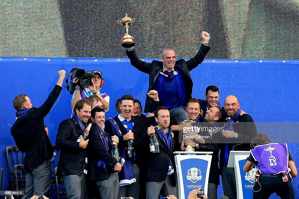 Europe team captain Paul McGinley celebrates winning the Ryder Cup with his team after the Singles Matches of the 2014 Ryder Cup on the PGA Centenary course at the Gleneagles Hotel on September 28, 2014 in Auchterarder, Scotland.