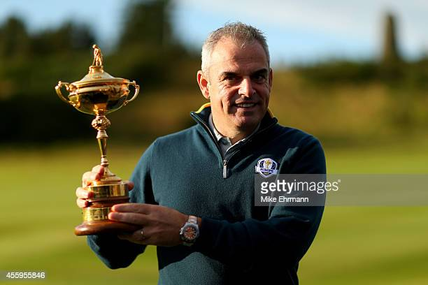 Europe team captain Paul McGinley poses with the Ryder Cup during the European team photocall ahead of the 2014 Ryder Cup on the PGA Centenary course...