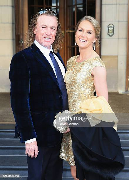 Europe team vice captain Miguel Angel Jimenez and wife Susanne Jimenez pose before leaving for the 2014 Ryder Cup Gala Dinner at Gleneagles Hotel on...