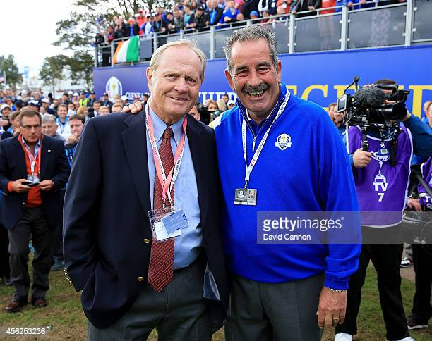 Europe team vice captain Sam Torrance and Jack Nicklaus pose near the 1st tee during the Singles Matches of the 2014 Ryder Cup on the PGA Centenary...