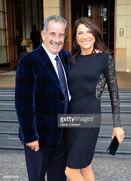 Europe team vice captain Sam Torrance and wife Suzanne Torrance pose before leaving for the 2014 Ryder Cup Gala Dinner at Gleneagles Hotel on...