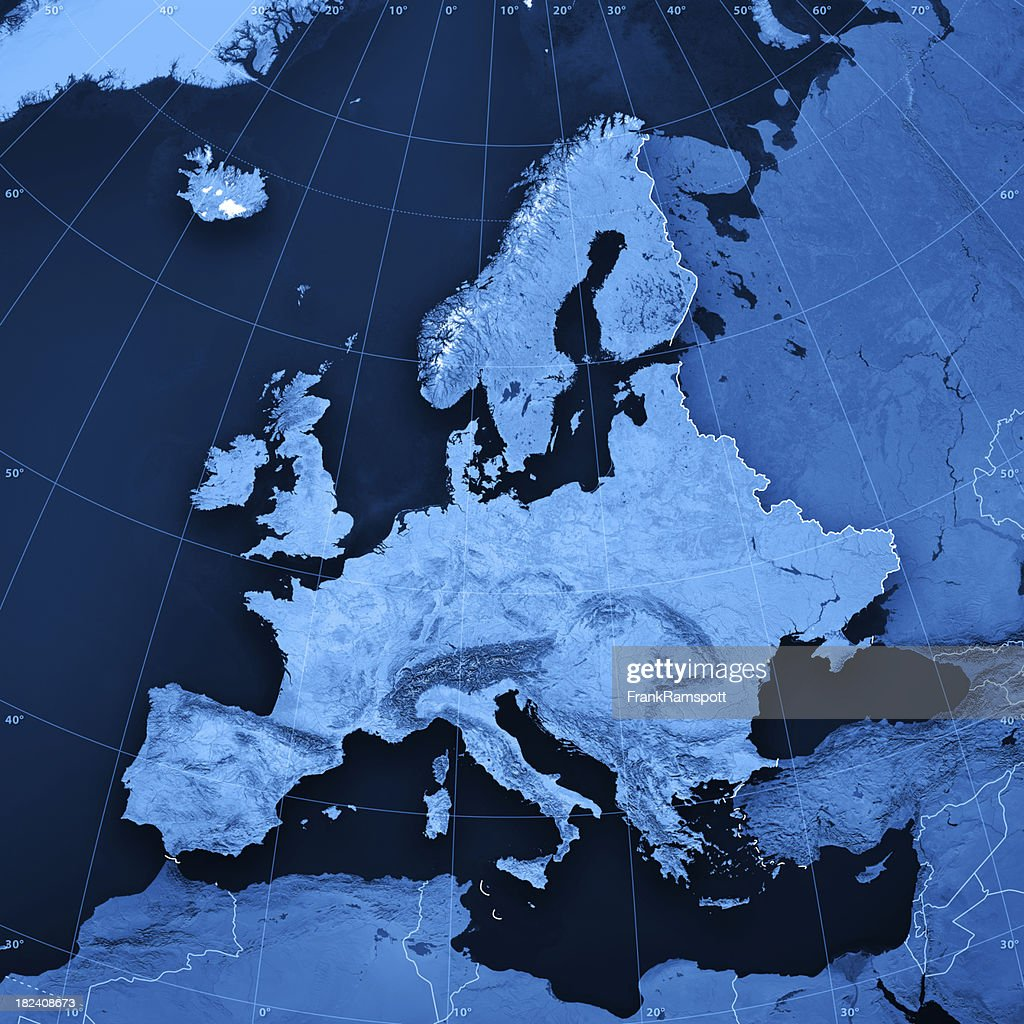 Europe Topographic Map : Stockfoto