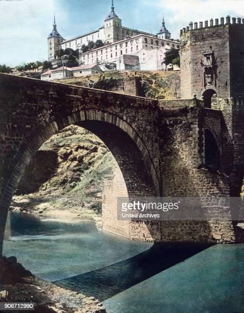 Europe travel Spain Castile Toledo Alcazar Alcantara Bridge image date 1910s 1920s Carl Simon Archive history historical hand coloured glass slide CSA