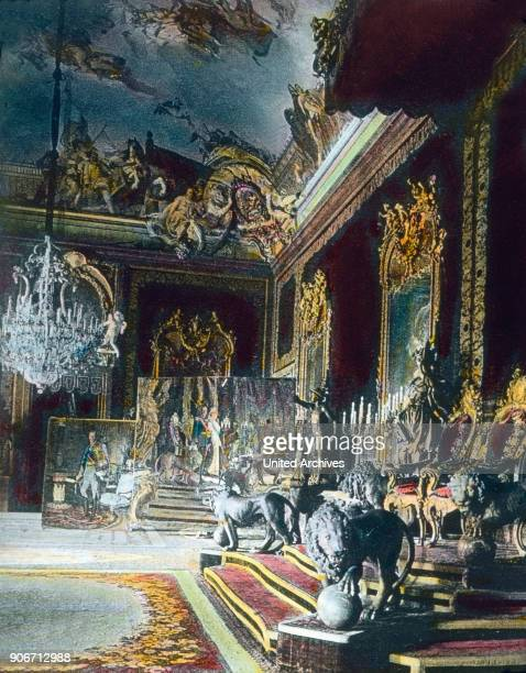 Europe travel Spain Madrid Palacio Real Royal Palace throne room Zarzuela Palace image date 1930s Carl Simon Archive history historical hand coloured...