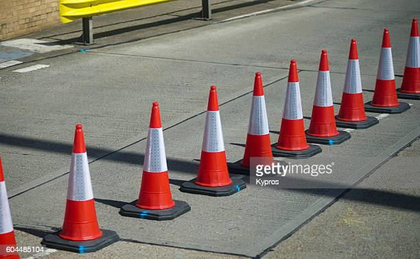 europe, uk, england, kent, dover area, view of port plastic bollards - traffic cone stock pictures, royalty-free photos & images