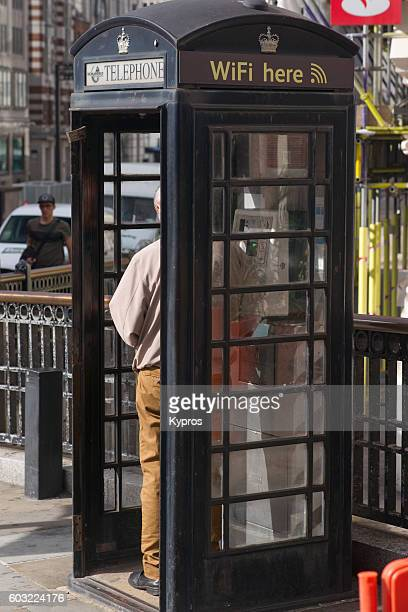 Europe, Uk, England, London, Ludgate Circus Area, View Of Pay Phone Or Telephone Coinbox