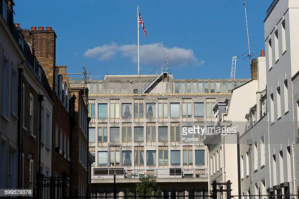 Europe, Uk, England, London, Mayfair Area, View Of The American Embassy, Grosvenor Square