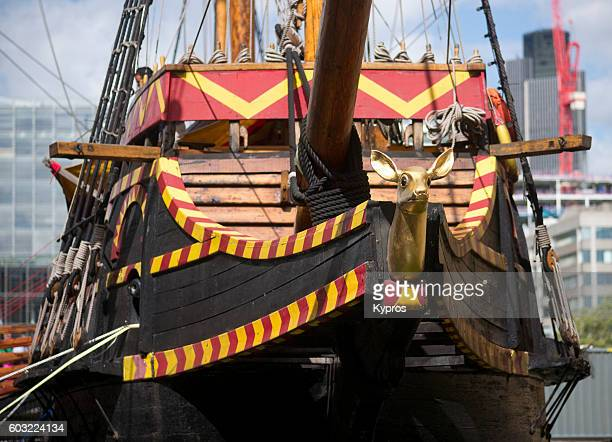 europe, uk, england, london, view of boat - the golden hinde 11, sir frances drake's famous galleon - sir francis drake stock photos and pictures