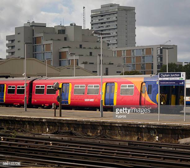 Europe, UK, England, London, View Of Railway Near Apartment Buildings
