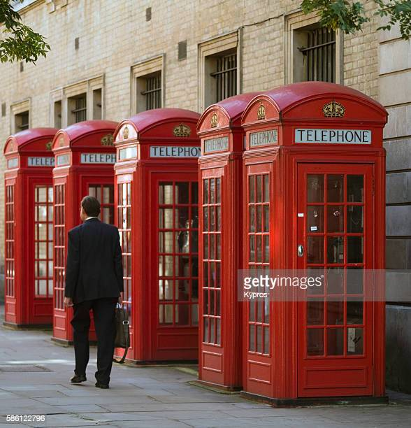 Europe, UK, England, London, View Of Traditional Red Telephone Boxes