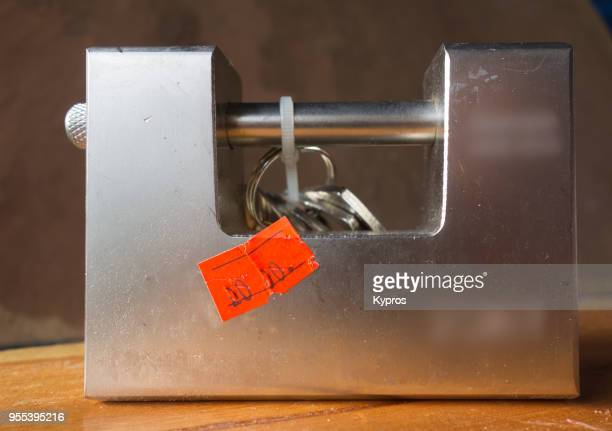Europe, UK, Great Britain, England Area, 2018: View Of Sturdy Chinese Steel Padlock Purchased From Turkish Discount Store (For About 3 Euro / $3.50)