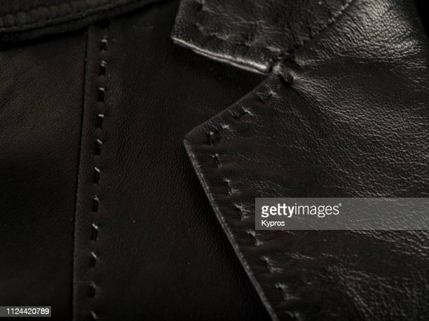 europe, uk, london, 2018: view of handmade leather jacket - bomber jacket stock pictures, royalty-free photos & images