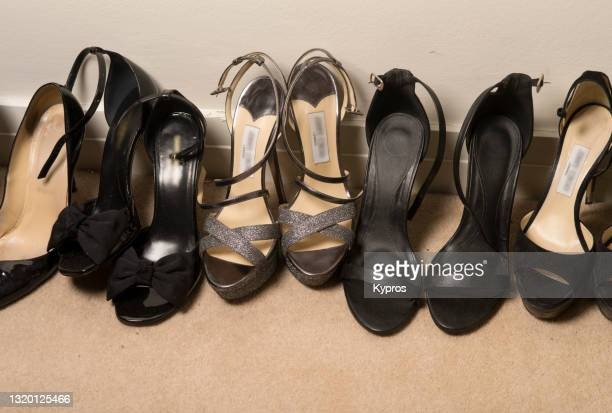 europe, uk, london, 2018: view of rows of expensiveladies high heeled shoes inside private home - womenswear stock pictures, royalty-free photos & images