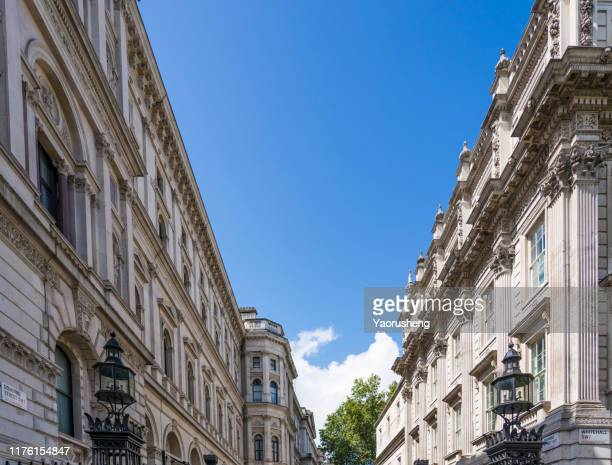 europe, uk, london-aug 09,2019: view of downing street - prime minister stock pictures, royalty-free photos & images