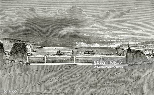 Europe Work project to connect the ports of Calais and Dover through the English Channel Engraving depicting the longitudinal section of the...