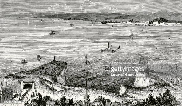 Europe Work project to connect the ports of Calais and Dover through the English Channel Engraving depicting the underwater tunnel with station at...