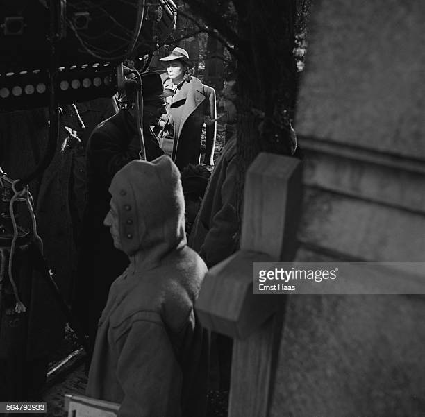 European actress Alida Valli on the set of the 1949 British film noir 'The Third Man' being filmed on location in Vienna Austria 1948
