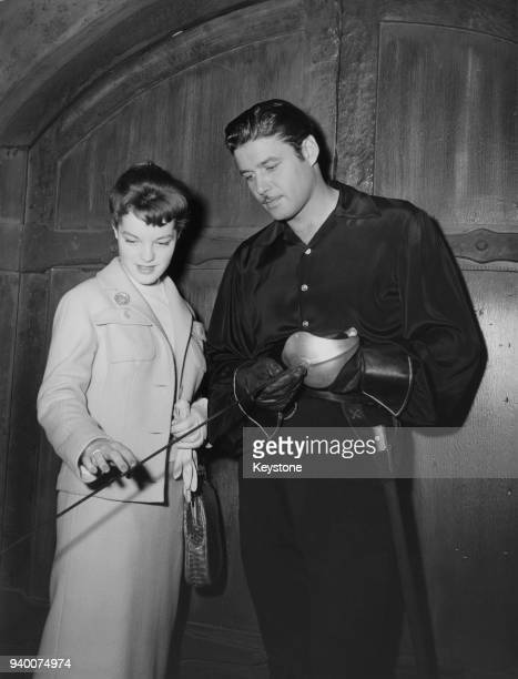 European actress Romy Schneider is shown around the Walt Disney Studios in Hollywood by actor Guy Williams who plays Zorro in the Disney television...