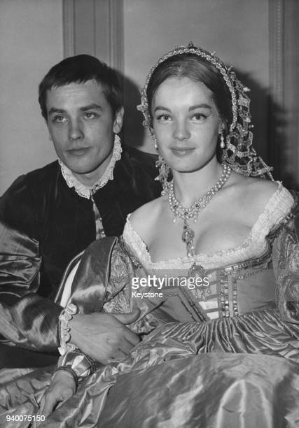 European actress Romy Schneider with her partner, actor Alain Delon in costume for the John Ford play 'Tis Pity She's a Whore', directed by Luchino...