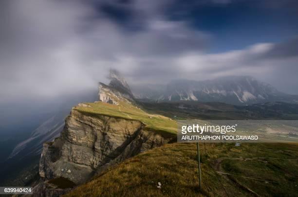 European alps mountain peak , Seceda dolomites , Italy