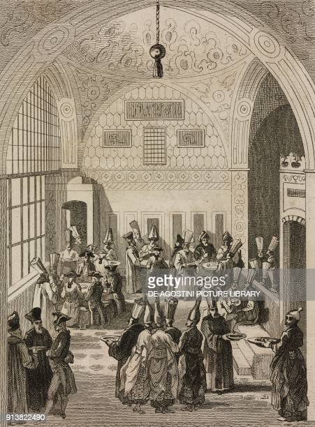 European Ambassador entertained by the Grand Vizier in the Imperial Council chamber Turkey engraving by Lemaitre Lalaisse and Branche from Turquie by...
