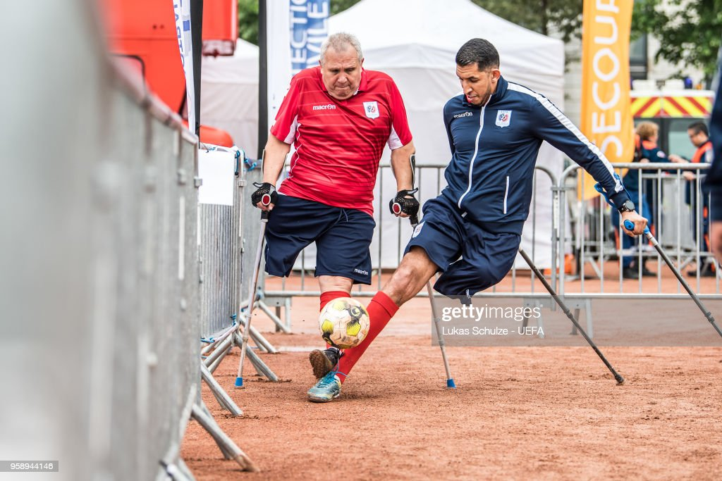 European Amputee Football Federation Game at the Fan Zone ahead of the UEFA Europa League Final between Olympique de Marseille and Club Atletico de Madrid at Stade de Lyon on May 15, 2018 in Lyon, France.