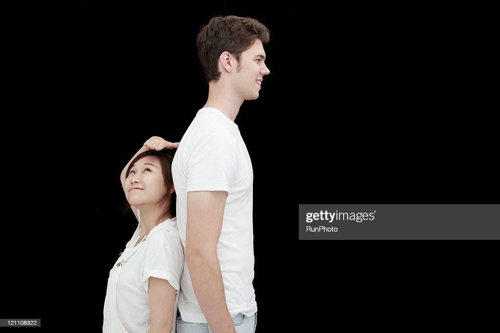 European and Asian couple : Stock Photo