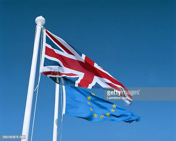 European and British flags blowing in wind, low angle view