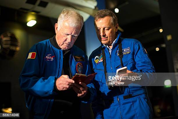 European Astronauts JeanLoup Chretien and Michel Tognini attend an event to mark 25 years since British astronaut Helen Sharman's space mission...