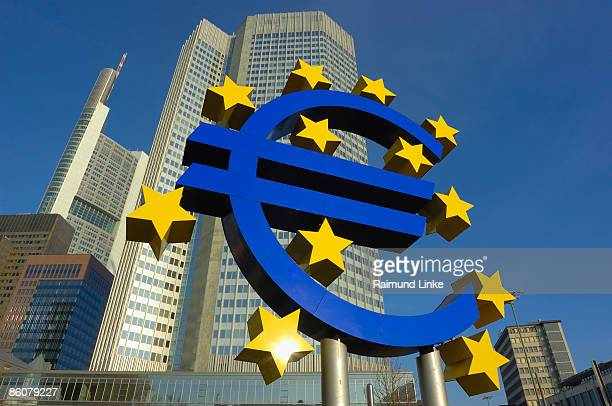 european bank and sign , frankfurt , germany - european central bank stock pictures, royalty-free photos & images