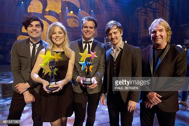 European Border Breakers Awards winner Dutch band The Commom Linnets with singers Jake Etheridge and Ilse DeLange composres JB Meijers Rob Crosby and...