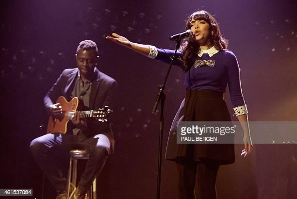 European Border Breakers Awards winner French singer Adila Sedraia aka Indila performs on stage during the awards show in Groningen on January 14...