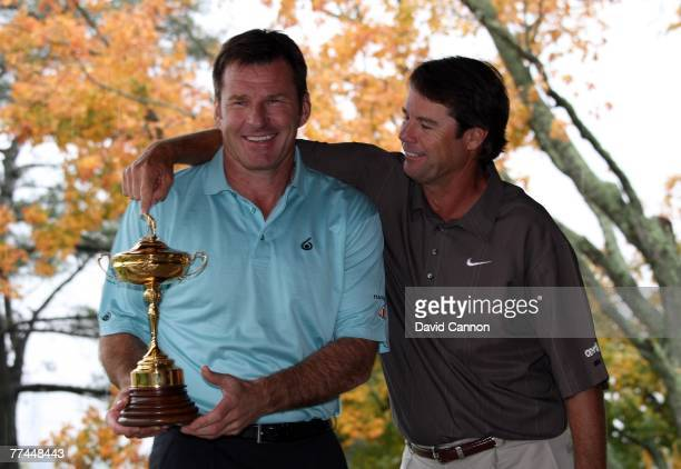 European captain Nick Faldo of England U.S. Captain Paul Azinger joke around at previews for the 2008 Ryder Cup at Valhalla Golf Club on October 22,...