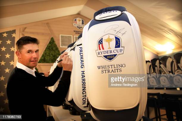 European Captain Padraig Harrington signs a 2020 Ryder Cup golf bag during the Ryder Cup 2020 Year to Go media event at Whistling Straits Golf Course...