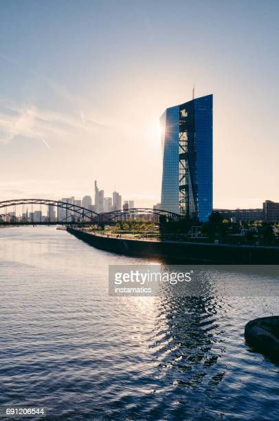 European Central Bank Building during Sunset
