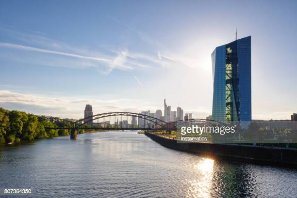 european central bank building in frankfurt - central bank stock pictures, royalty-free photos & images