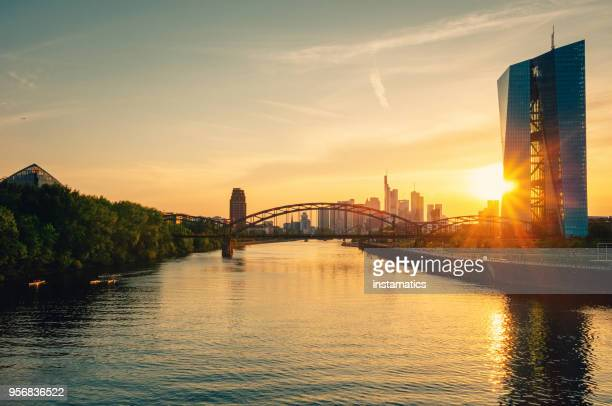 european central bank building in frankfurt - european central bank stock photos and pictures