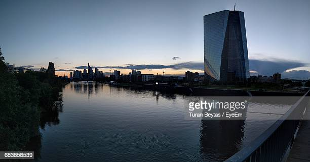European Central Bank By Main River Seen From Deutschherrnbrucke During Sunset