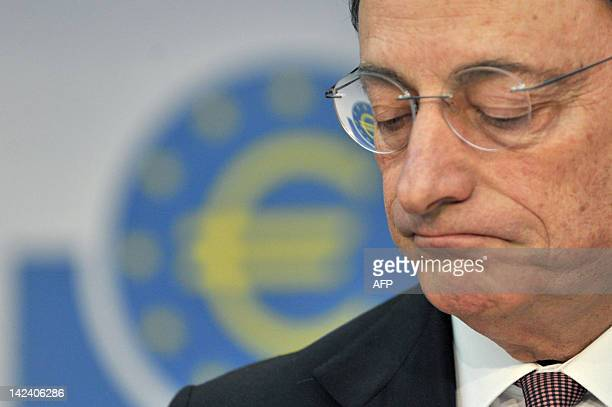 European Central Bank chief Mario Draghi addresses a press conference in the central German city of Frankfurt am Main on April 4 2012 It is too early...