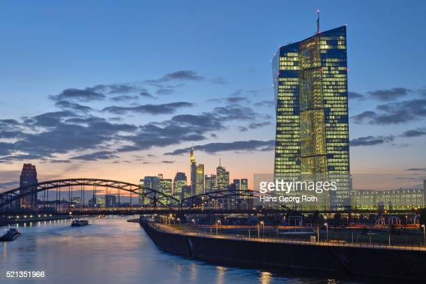 European Central Bank ECB with banks Skyline