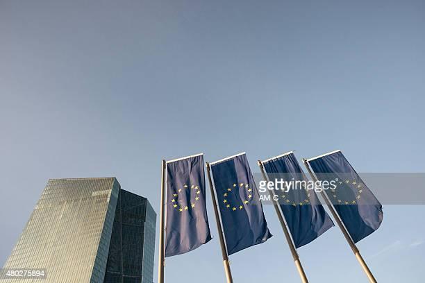 ecb, ezb, european central bank, eu flags,  frankfurt - european central bank stock pictures, royalty-free photos & images