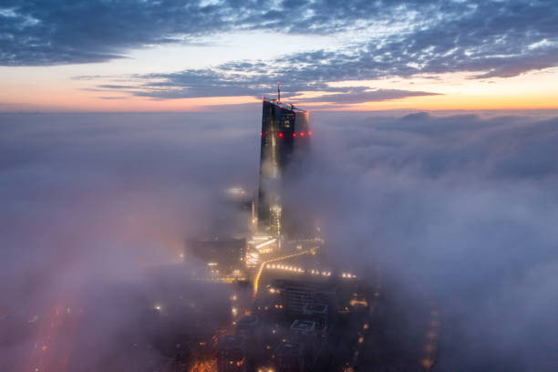 European Central Bank in the fog at Blue Hour