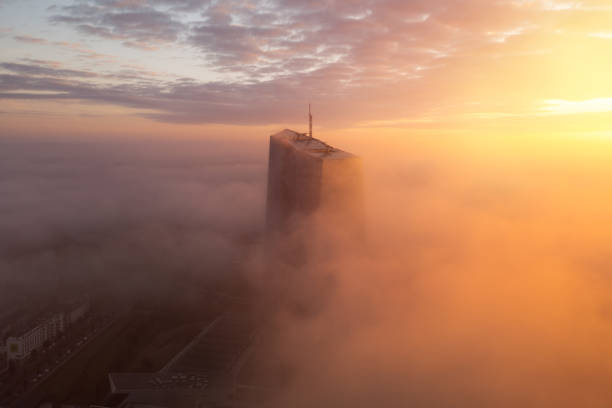 European Central Bank in the fog at sunrise