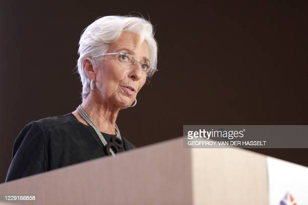 European Central Bank President Christine Lagarde speaks during the 16th Congress of Regions in Saint-Ouen, north of Paris on October 19, 2020.