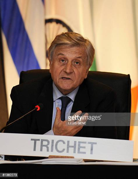 European Central Bank president Jean Claude Trichet takes part in a video conference with the Chairman of the Board of Governors of the Federal...