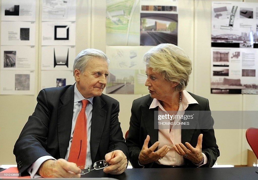 European Central Bank President Jean-Claude Trichet and Frankfurt's Petra Roth discuss new plans for a memorial site for murdered Jews of Europe to be built on the site of the new European Central Bank in the central German city of Frankfurt am Main on May 28, 2010. The new ECB building is expected to be finished in 2013.