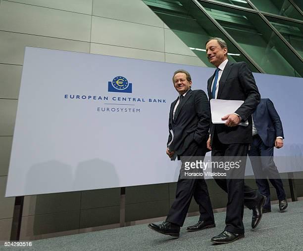 European Central Bank President Mario Draghi and ECB vicepresident Vitor Constancio leave at the end of the press conference at the European Central...