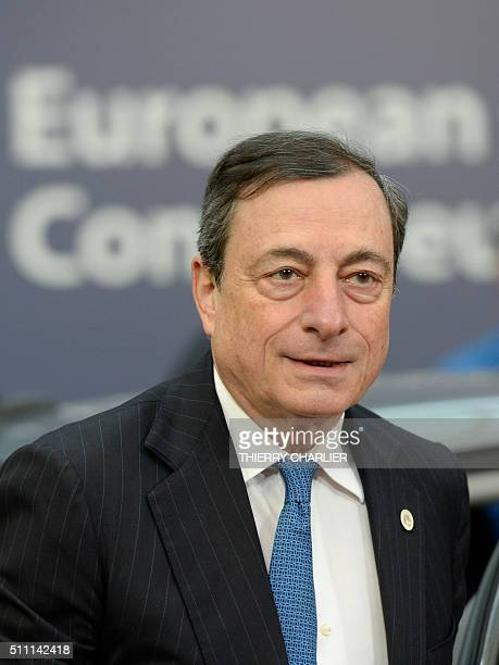 European Central Bank President Mario Draghi arrives for an EU summit meeting at the European Union headquarters in Brussels on February 18 2016 EU...
