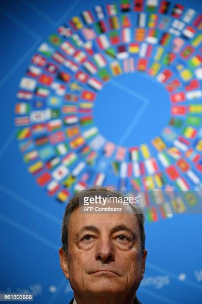European Central Bank president Mario Draghi attends a press conference at the World Bank and International Monetary Fund annual meeting in...